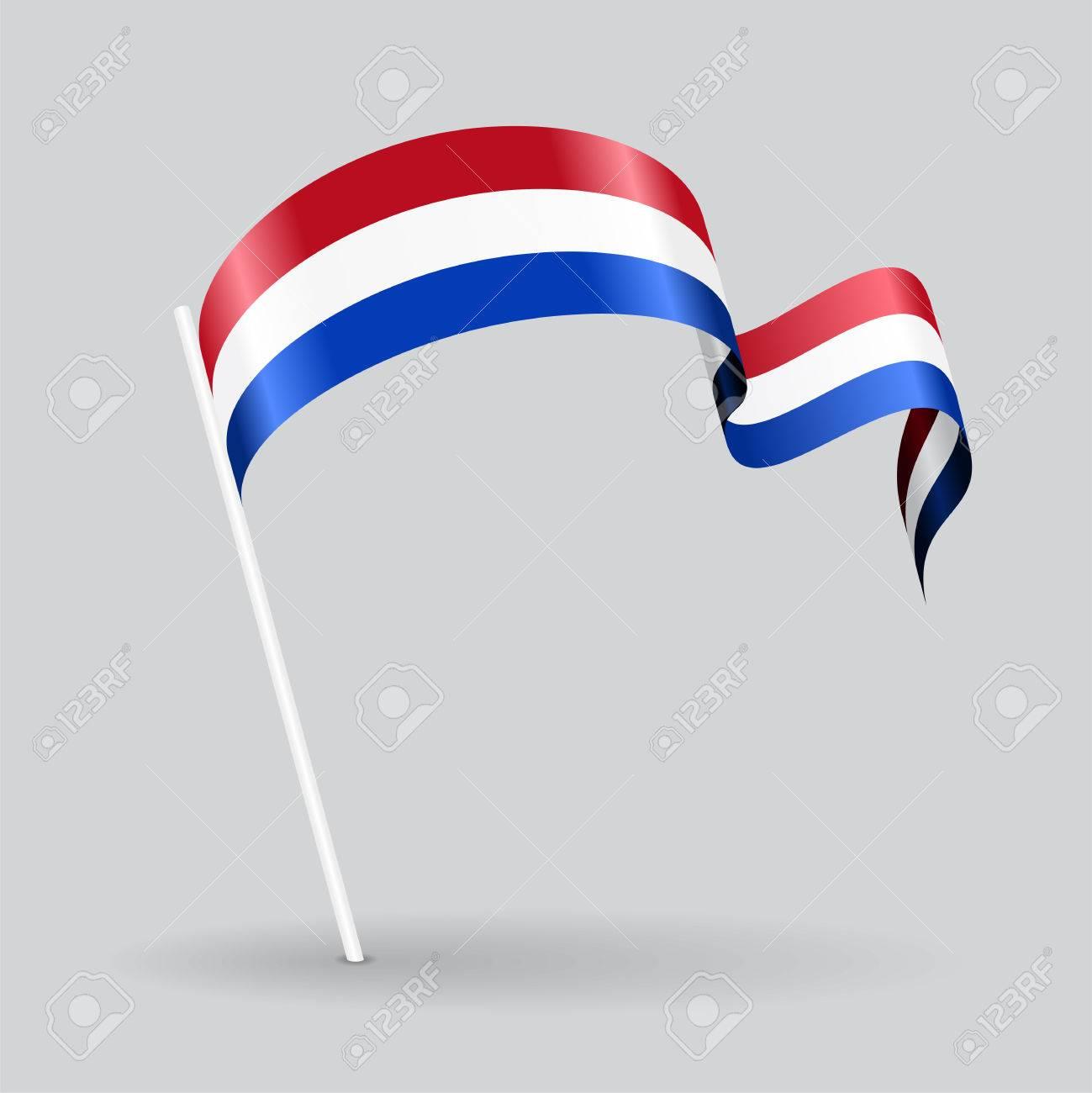 Dutch pin icon wavy flag. Vector illustration. - 60850258