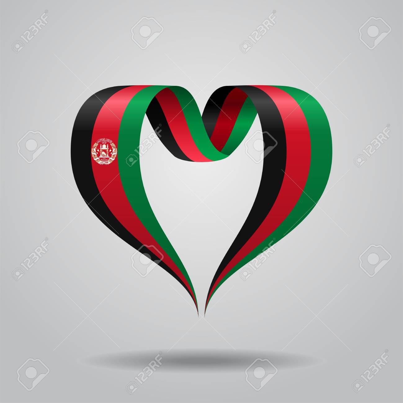 Herzformiges Wellenformiges Band Afghanistan Flagge