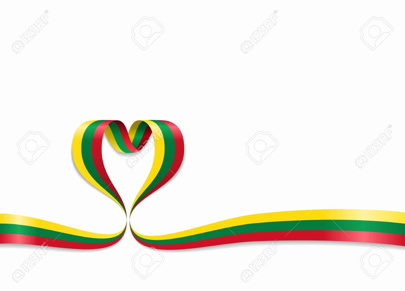 Lithuanian flag heart-shaped wavy ribbon. Vector illustration. - 100973529
