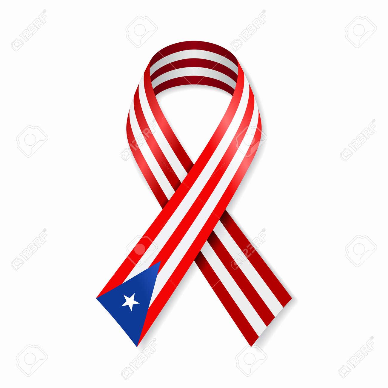 Puerto Rican flag stripe ribbon on white background. Vector illustration. - 151645505
