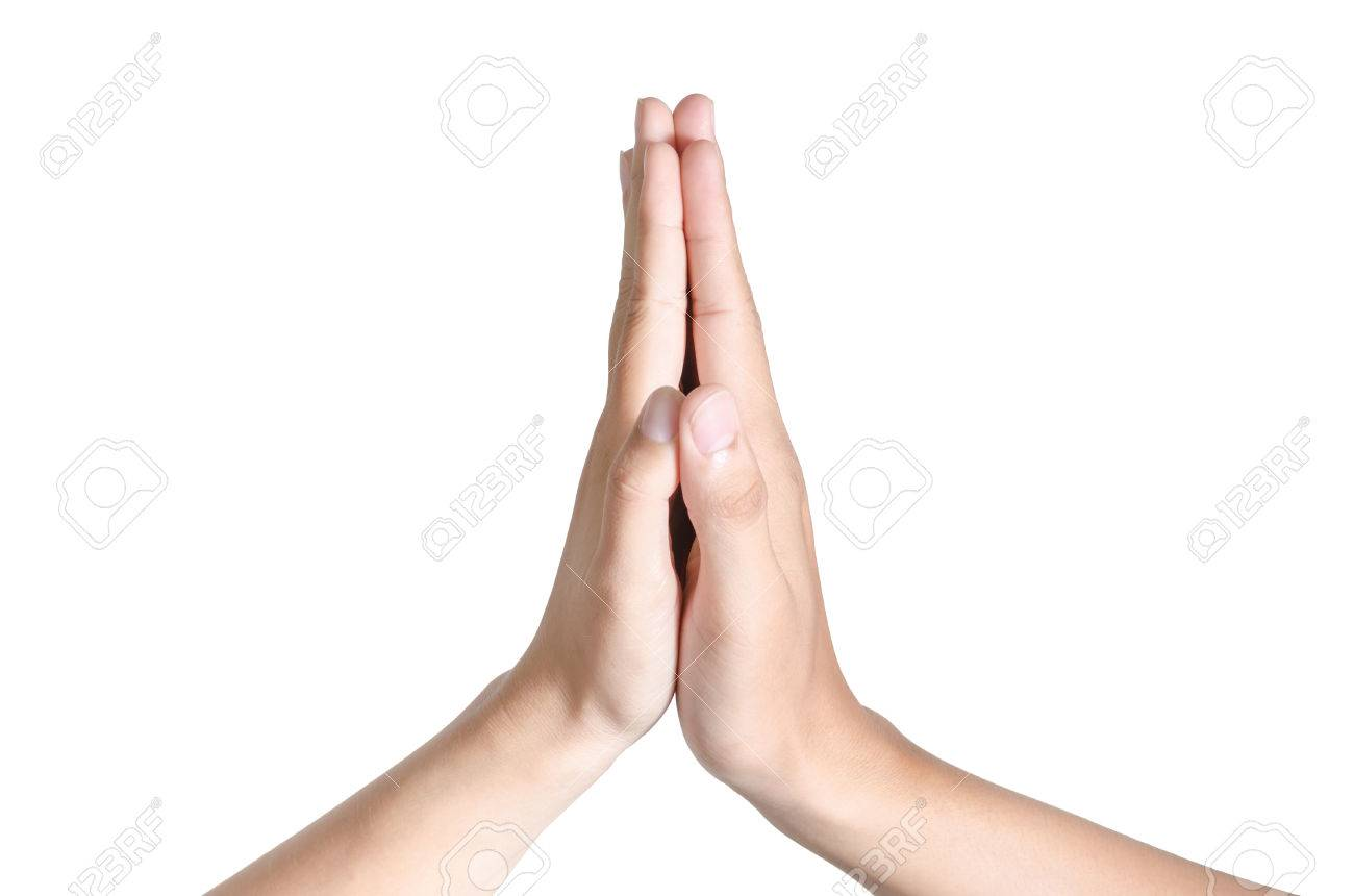 two hands of asian people making hi five gesture stock photo