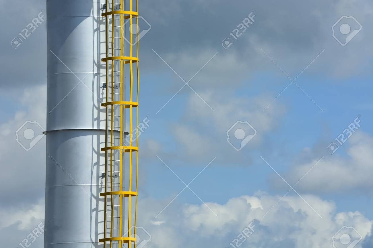 Steel Smoking Stack Of The Modern Boiler-house. Stock Photo, Picture ...