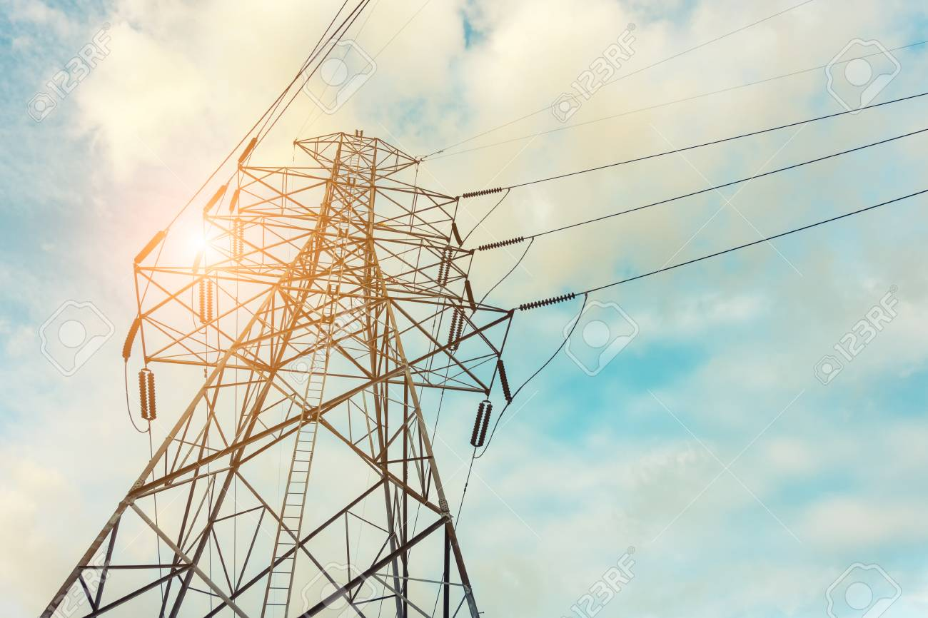 High Voltage Towers On Skies Background Transmission Line Tower Stock Photo Picture And Royalty Free Image Image 71529706