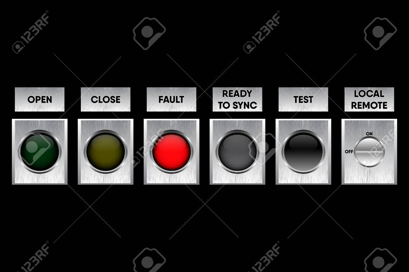 Button Switch Gear And Operation Symbol Of Controller Panel ...