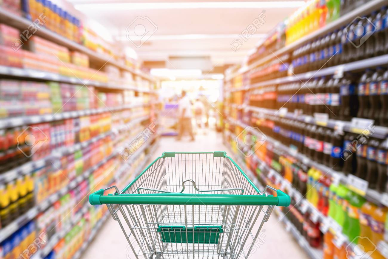 Shopping Trolley In Supermarket Store. Stock Photo, Picture And Royalty Free Image. Image 104600442.