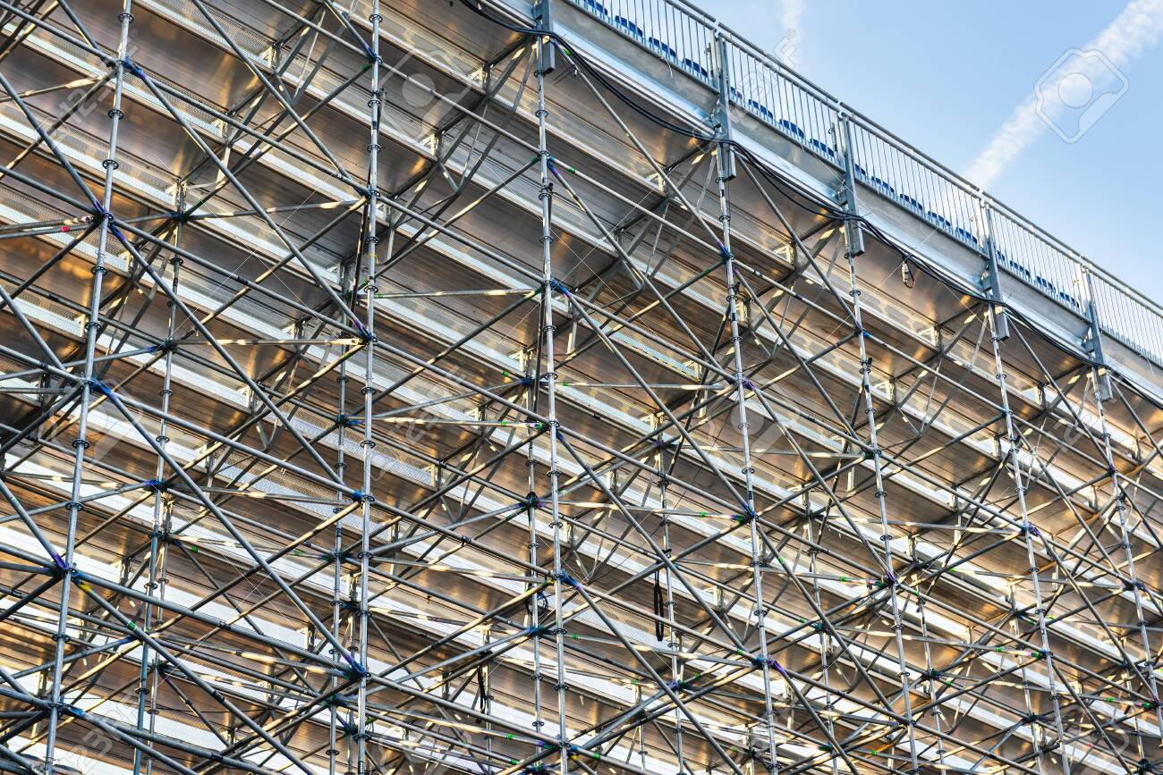 Scaffolding Steel Frame Installation In Construction Site, Scaffold.. Stock  Photo, Picture And Royalty Free Image. Image 127162864.