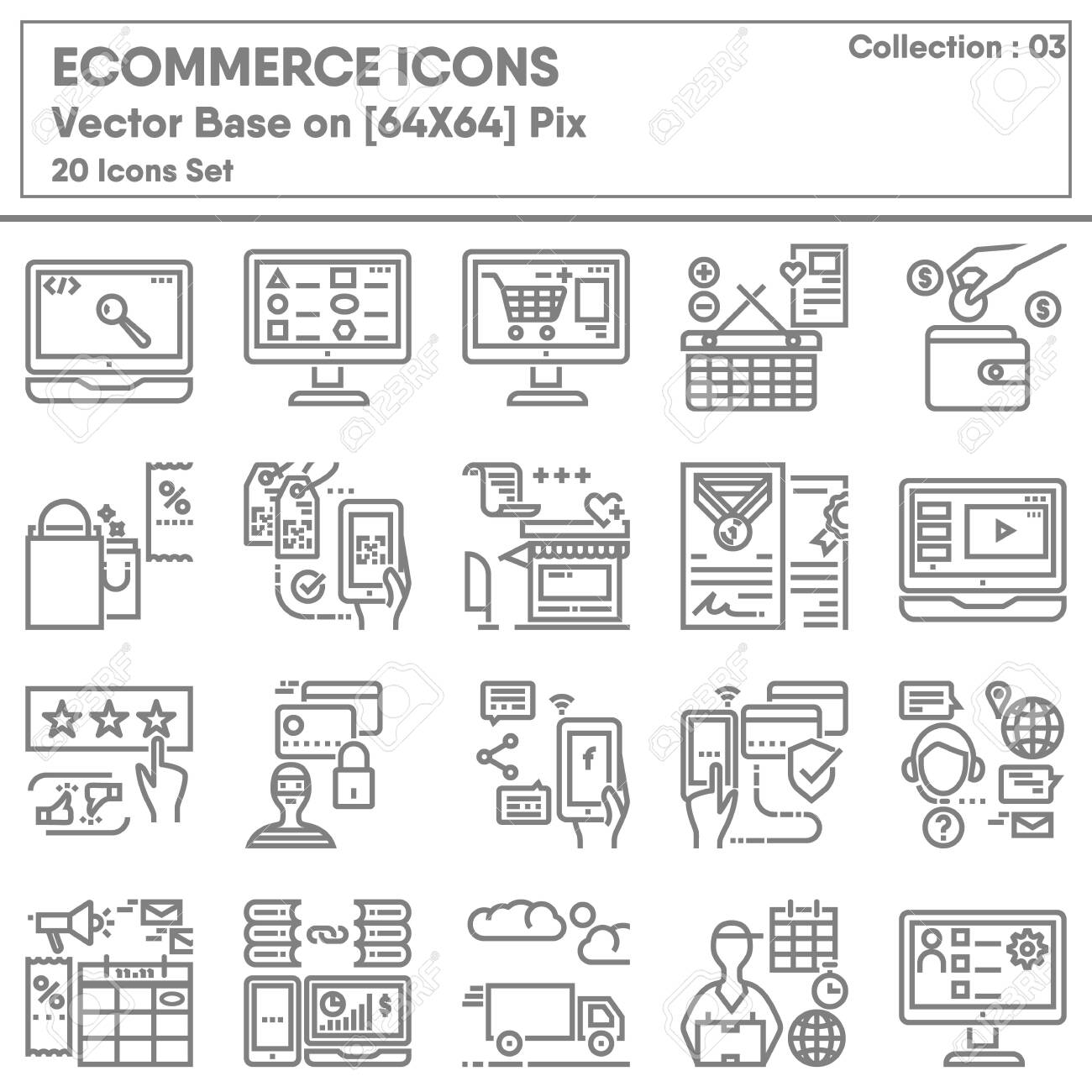 E-commerce Shopping Online and Marketing Network Icons Set, Icon Collection for Business Market Website Advertising. Store Internet Online and Mobile Convenience Shop, Infographic Illustration Design. - 138146542