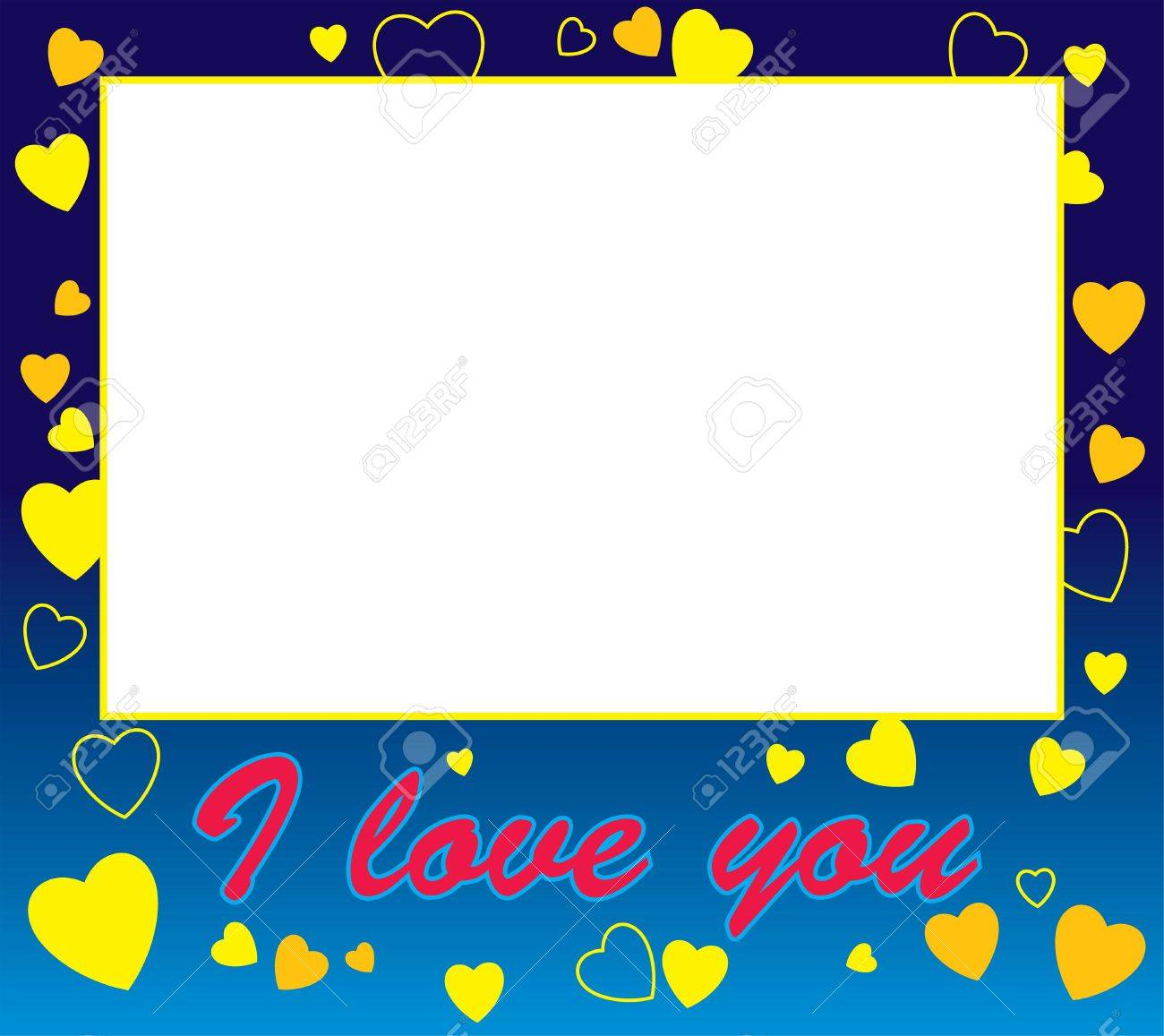 frame with hearts and love border and the words i love you stock photo 737422