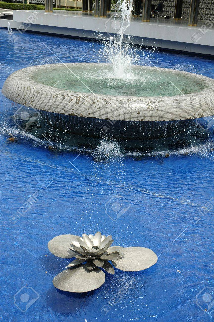 Water fountain in the shape of steel lotus flower stock photo water fountain in the shape of steel lotus flower stock photo 772991 dhlflorist Images