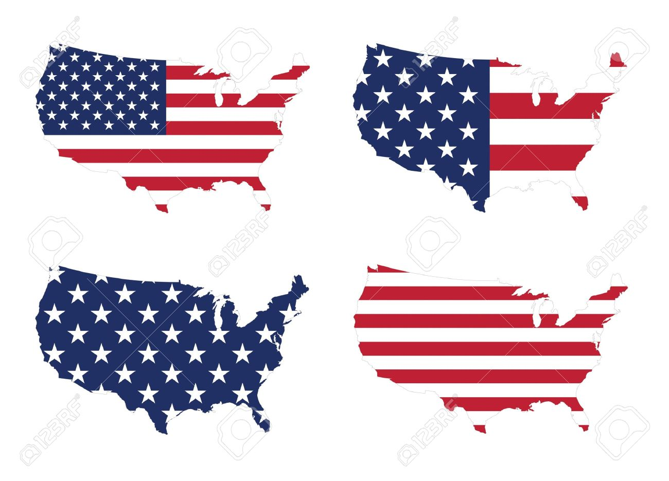 US Map With A Variety Style Of Stars And Stripes Flag Stock Photo - Us map with glag