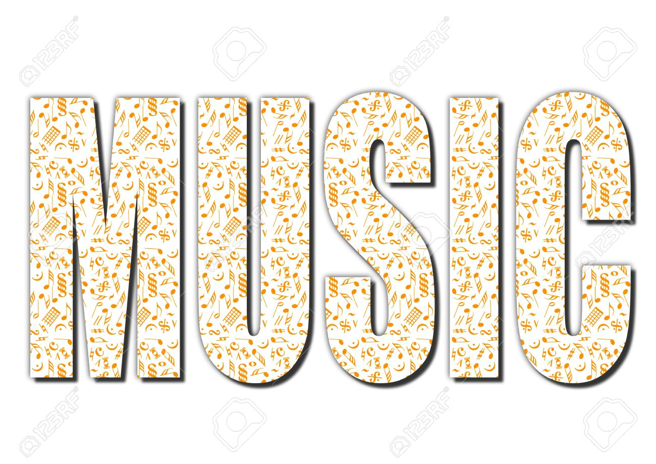 stock photo typography music word made from musical notes isolated with clipping path