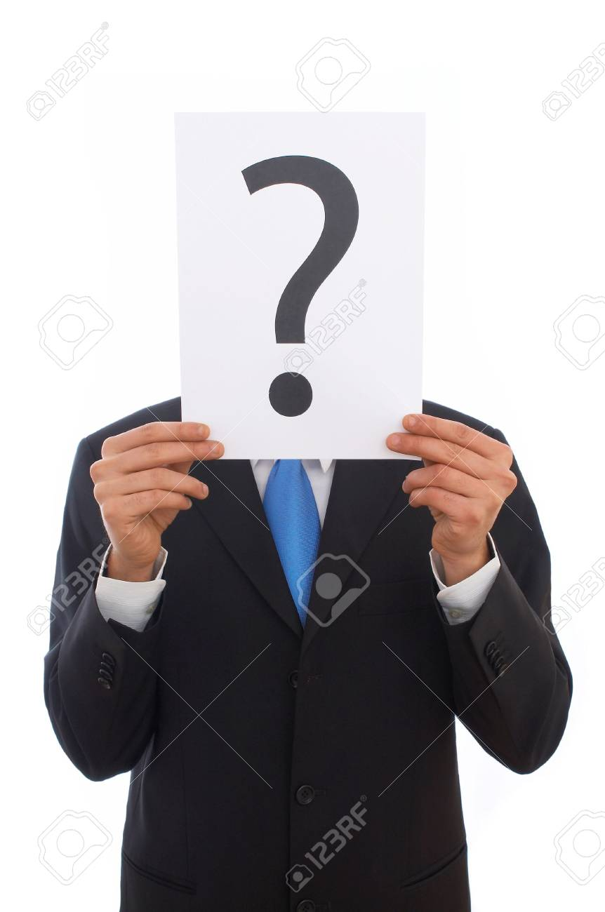 businessman with question mark sign on white background Stock Photo - 901351
