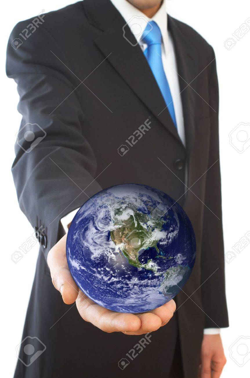 businessman with a globe on white Stock Photo - 968676