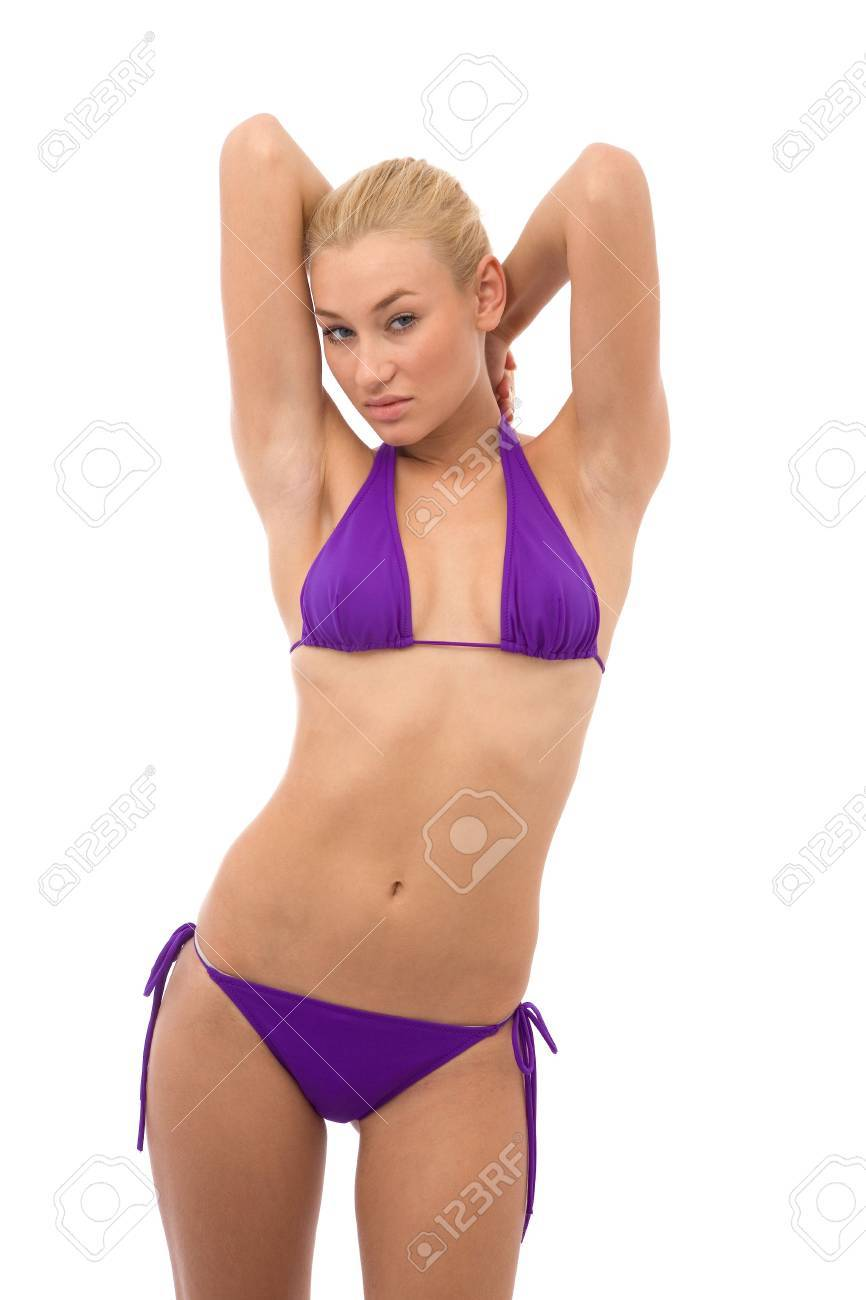 san francisco 0558a 516df beautiful girl with a mini bikini on white background