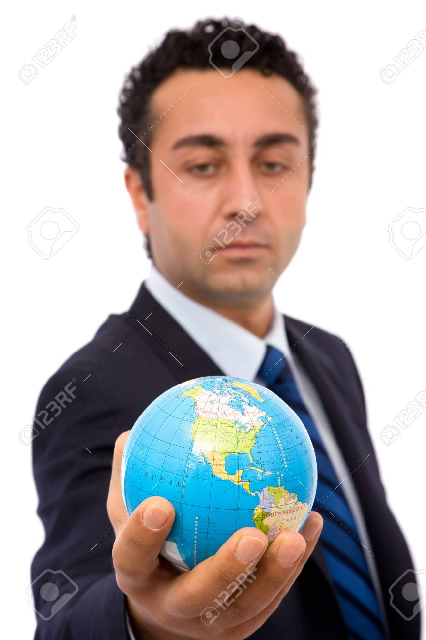 senior businessman holding a mini globe, shallow dof Stock Photo - 2464157