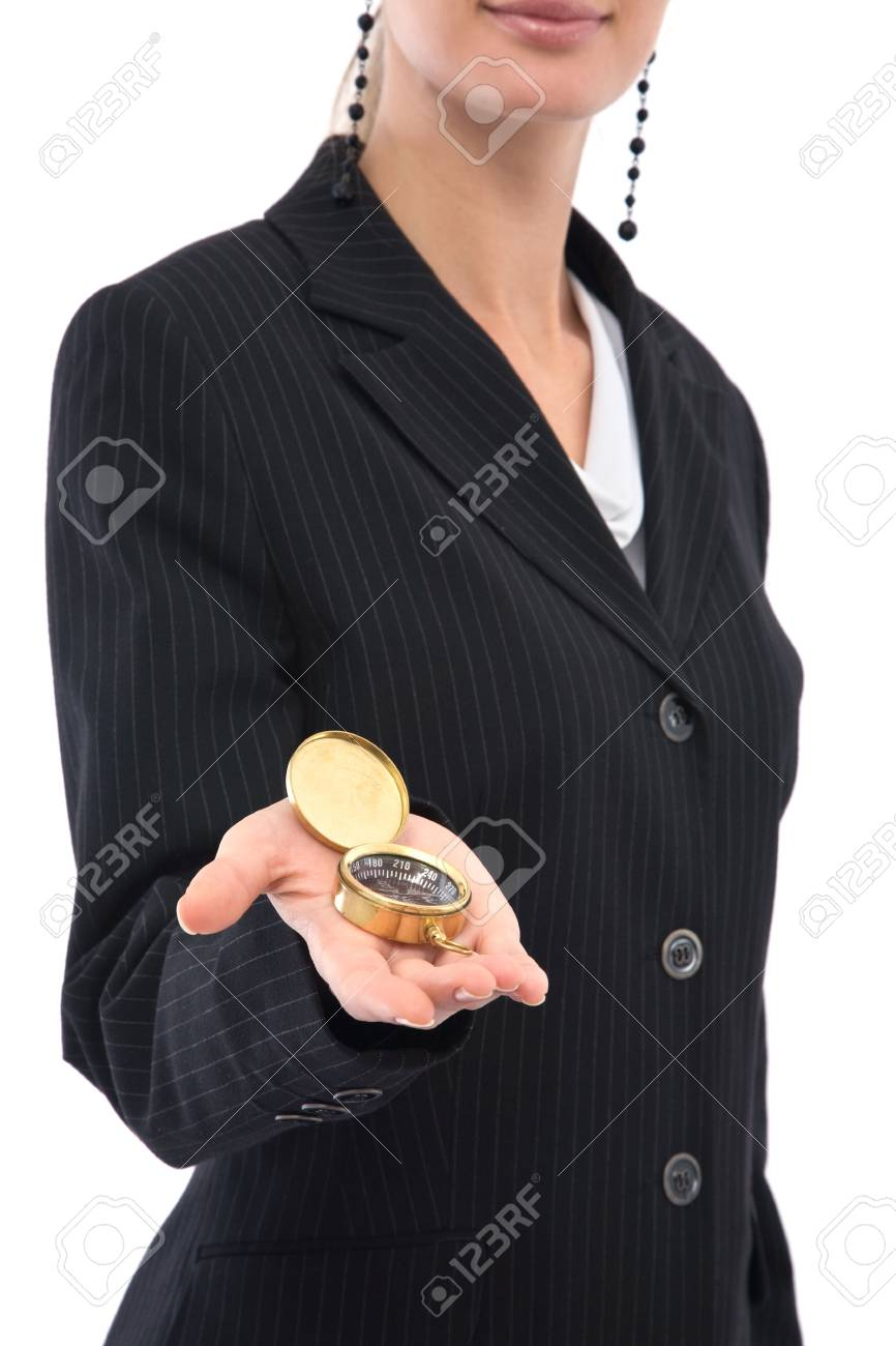 businesswoman holding an old compass on white, shallow dof Stock Photo - 3772091