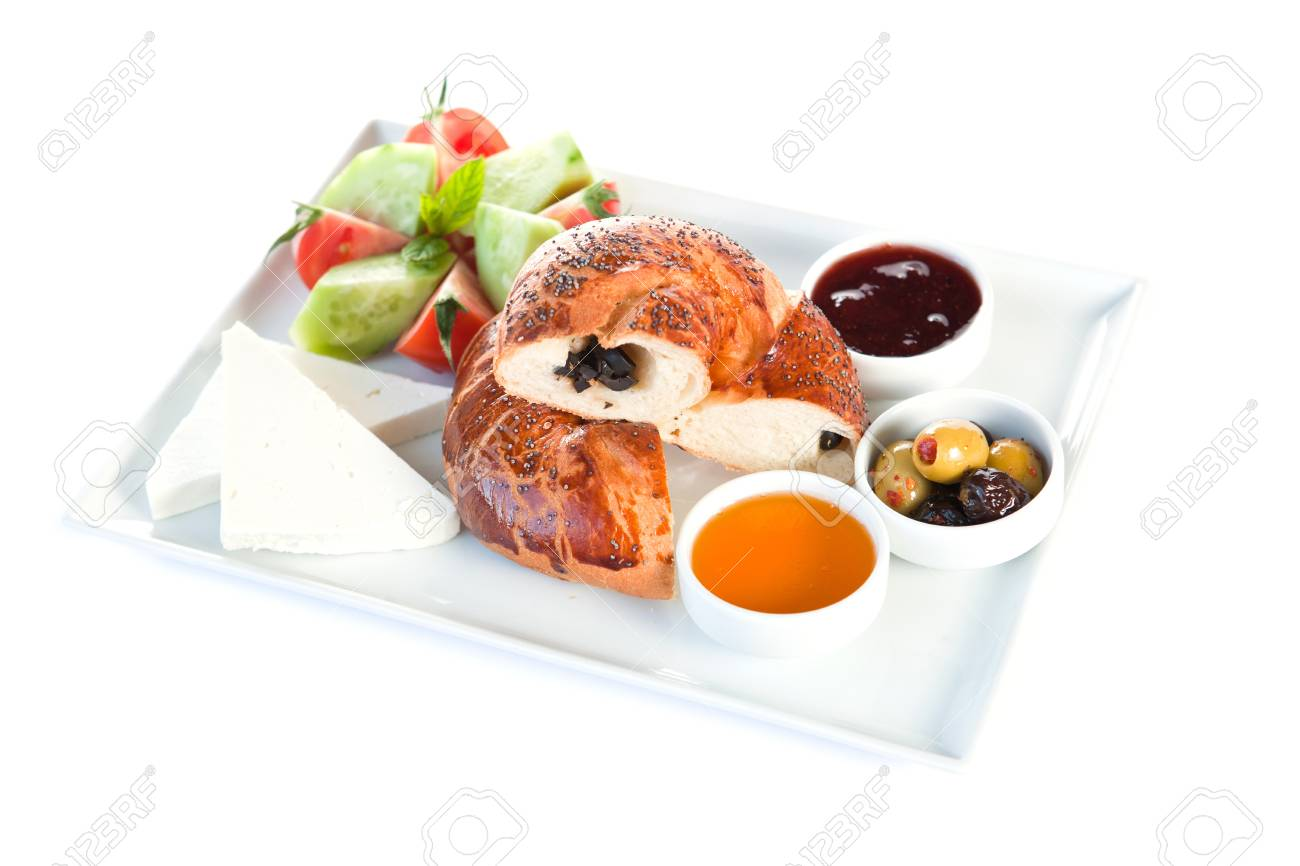 Bun and sandwich with sausages for breakfast Stock Photo - 8391139