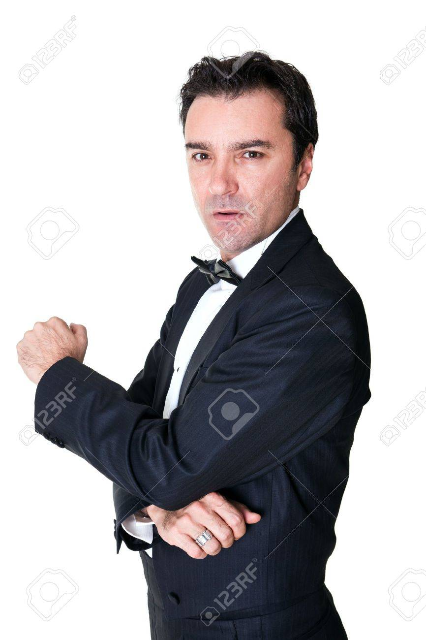 senior portrait with tuxedo on white Stock Photo - 8651133