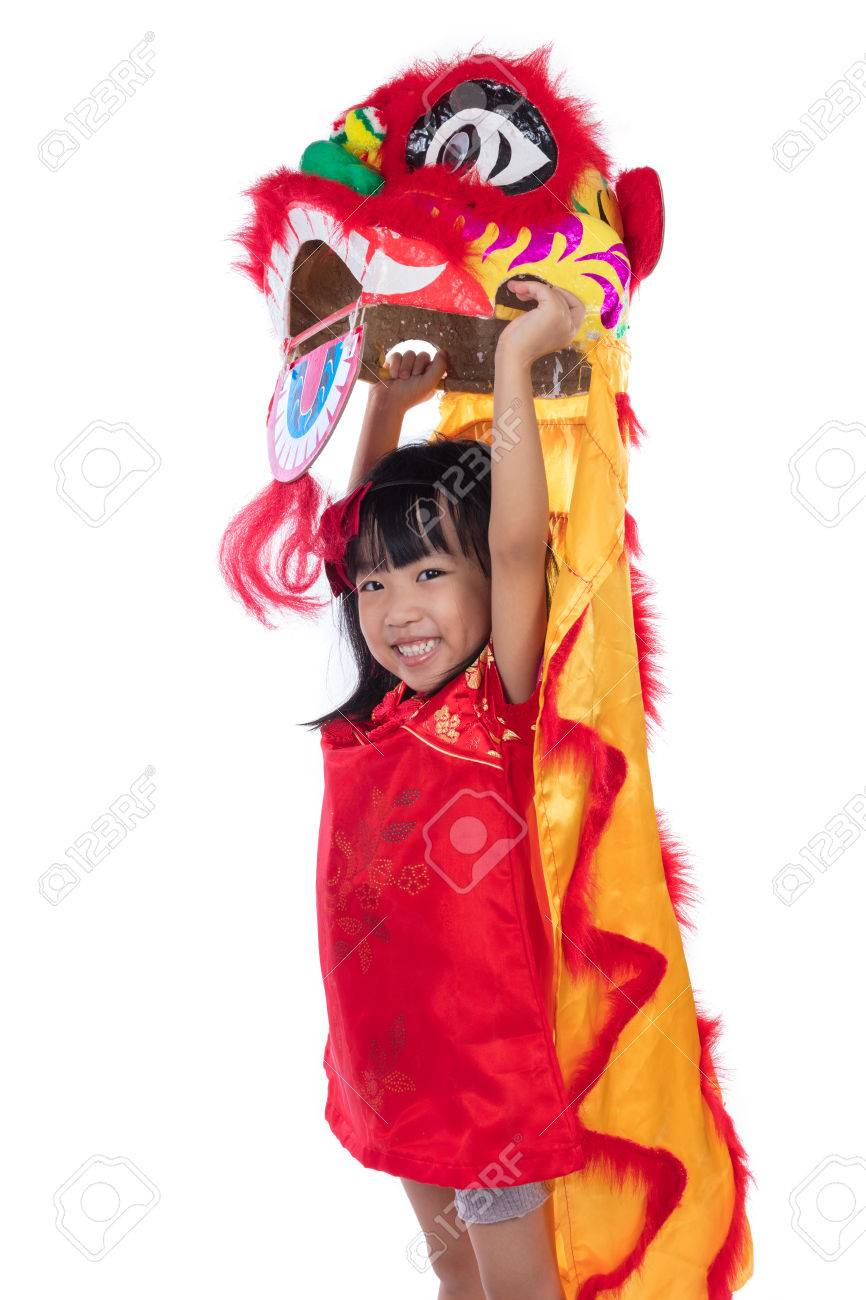 8633acb55 Smiling Asian Chinese Little Girl With Lion Dance Costume ...