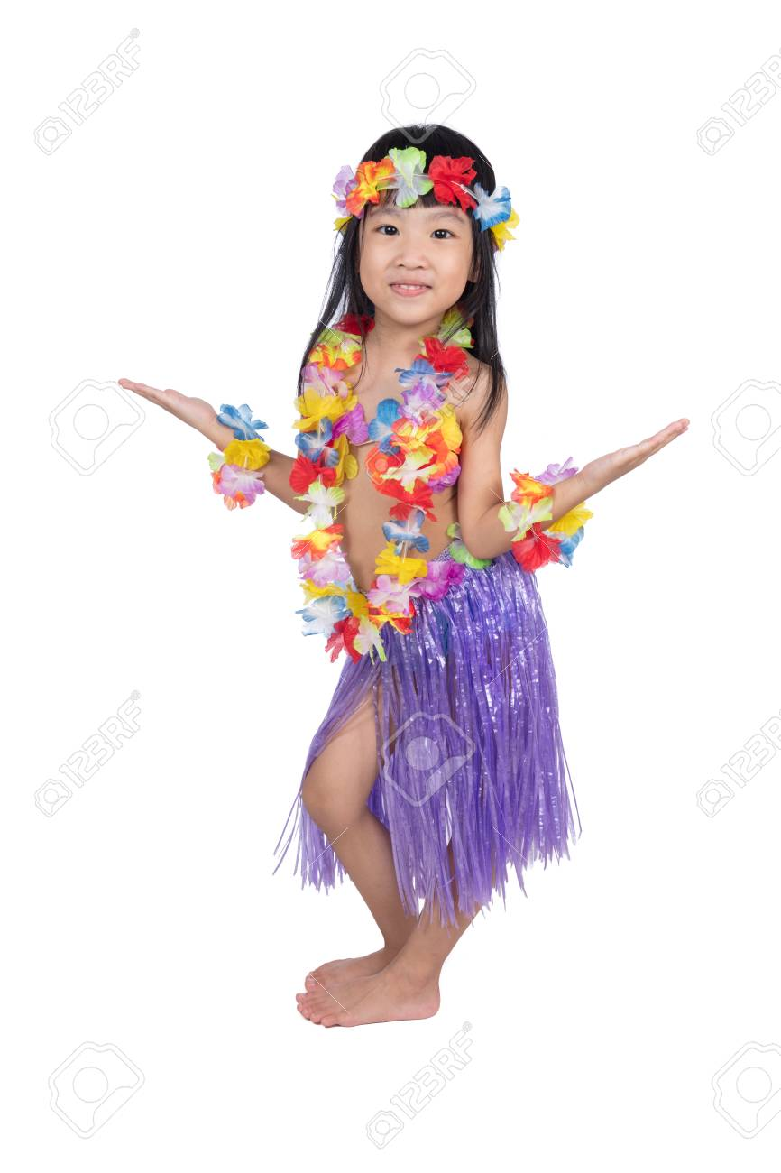 Asian Chinese Little Girl In Hawaiian Costume Pretending To Be A Hula  Dancer In Isolated White