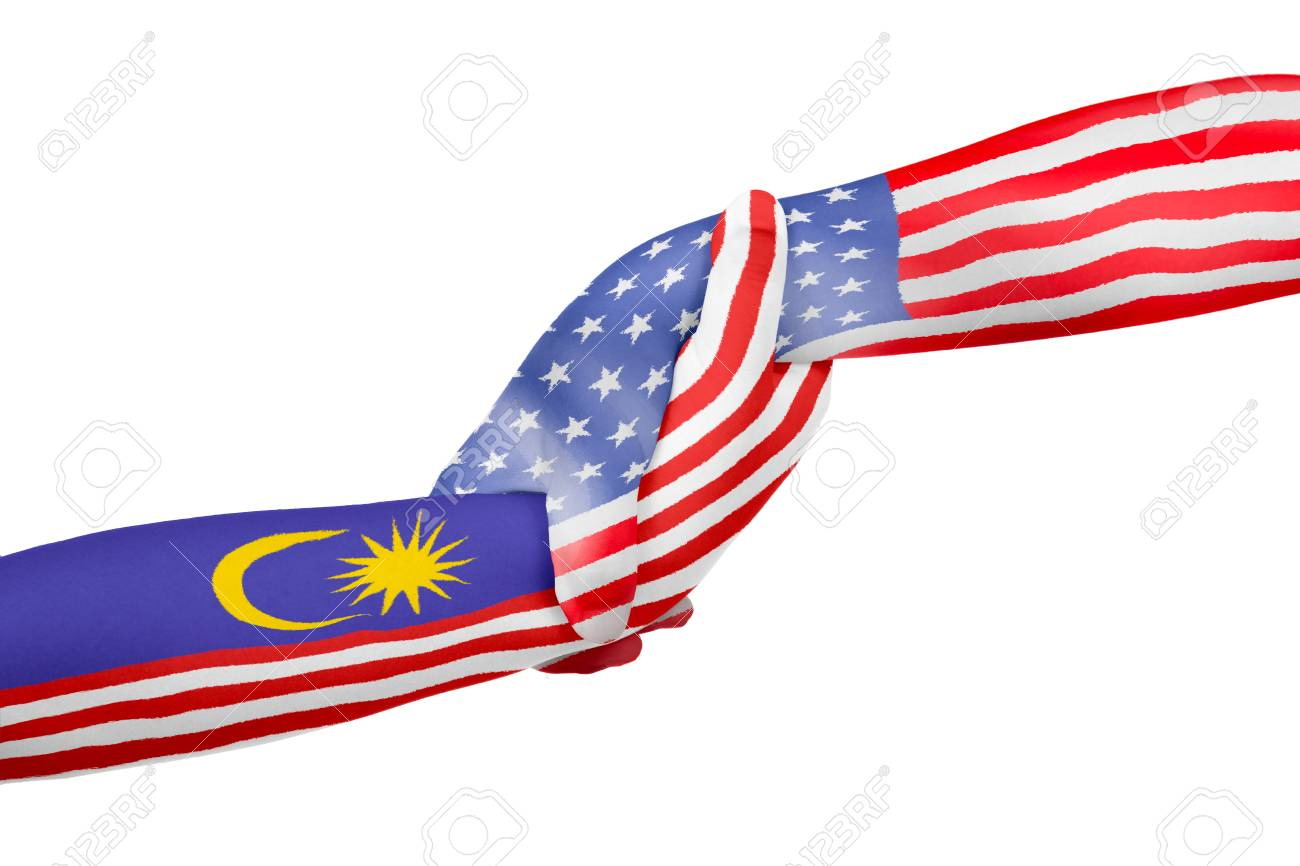 Helping Hands Of America >> Helping Hands Of United States Of America And Malaysia With Flags