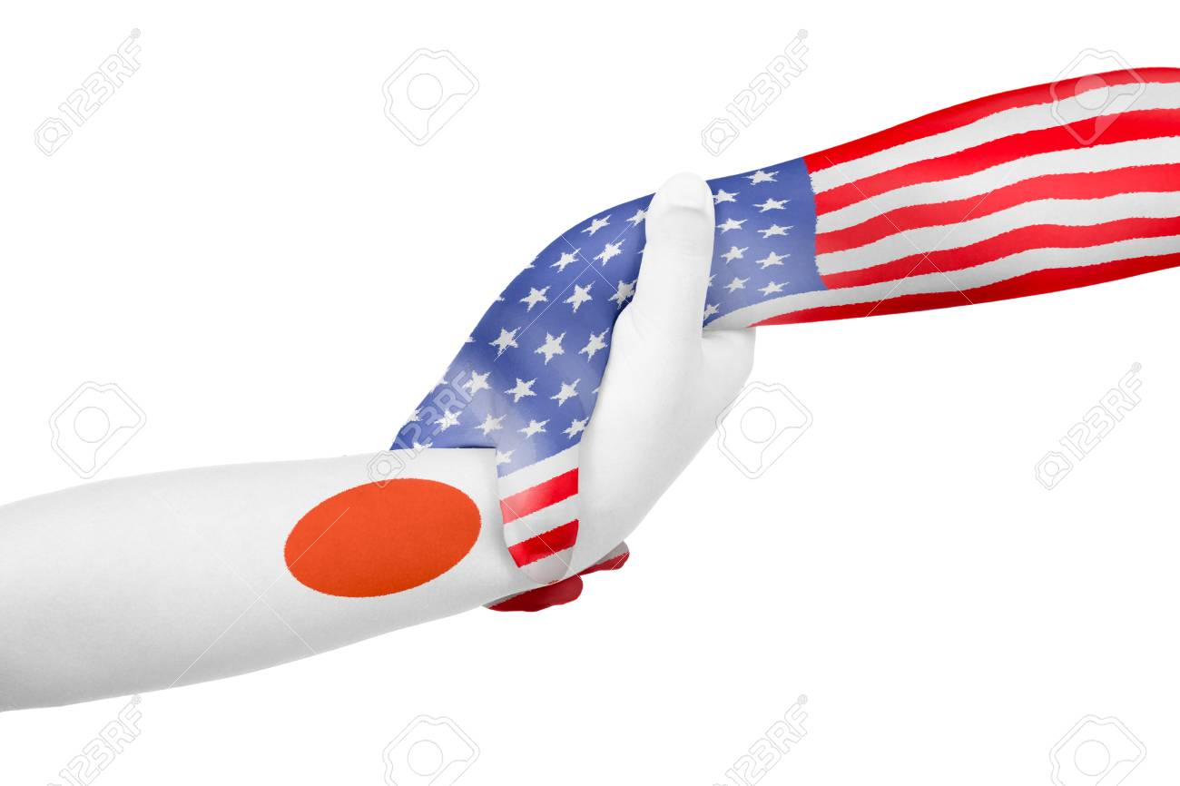 Helping Hands Of America >> Helping Hands Of United States Of America And Japan With Flags
