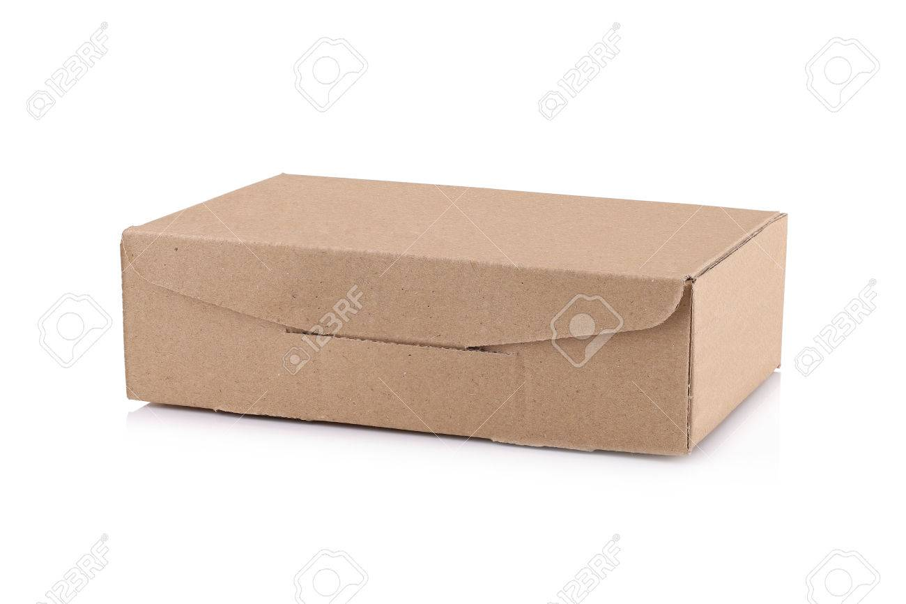 Cardboard Box isolated on a White background with clipping path Standard-Bild - 46785265