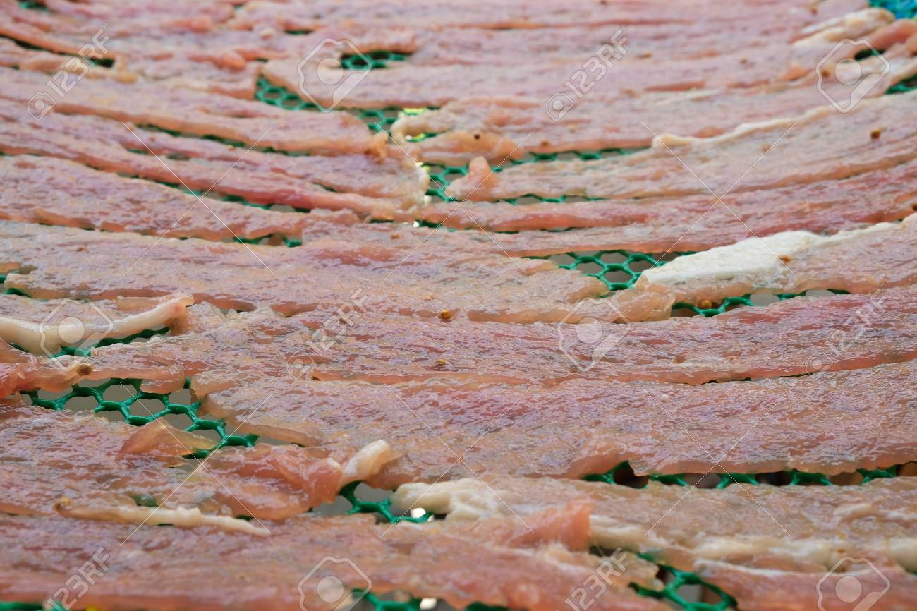 meat on drying in the sun Standard-Bild - 46785369