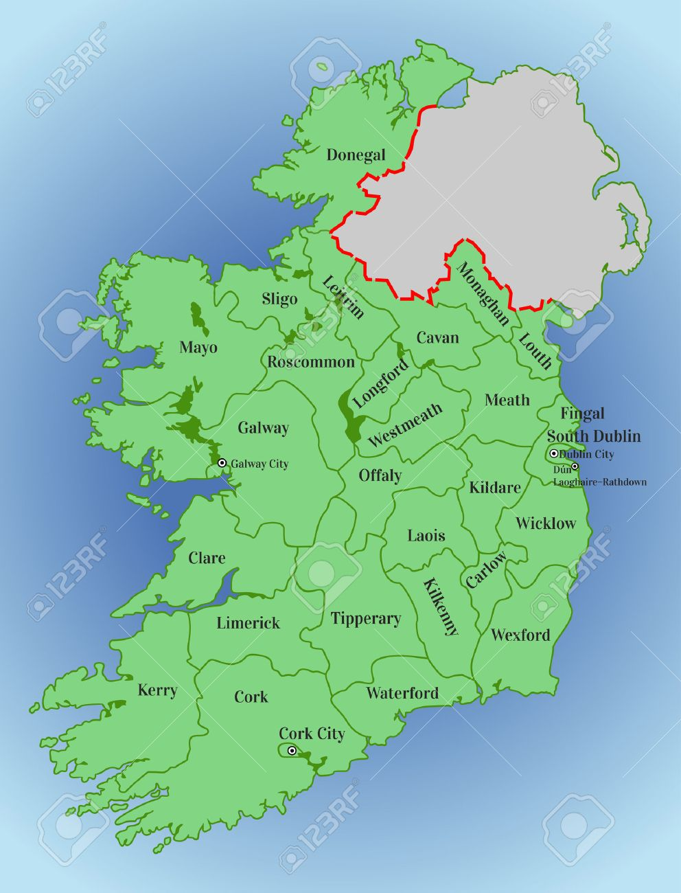 Map Of Ireland By County.Vector Map Of Ireland Republic Of Ireland Map Of Ireland With