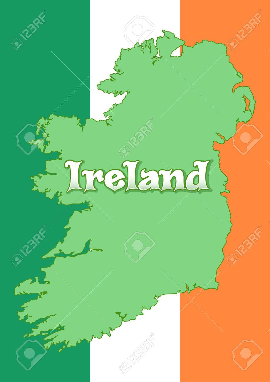 Map Of Ireland Ireland.Map Of Ireland On The Background Of The Flag Of Ireland Irish