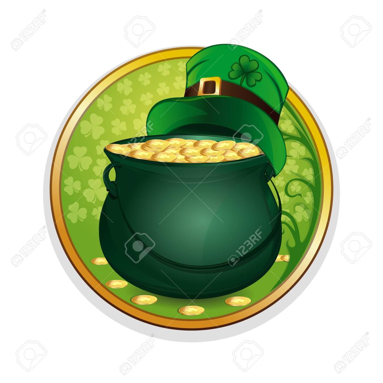 Duende Mágico De La Olla Del Oro Y Del Sombrero En Un Trébol De La Hoja Del  Fondo. Celebrando Los Símbolos Del Día De San Patricio. e8718eb215d