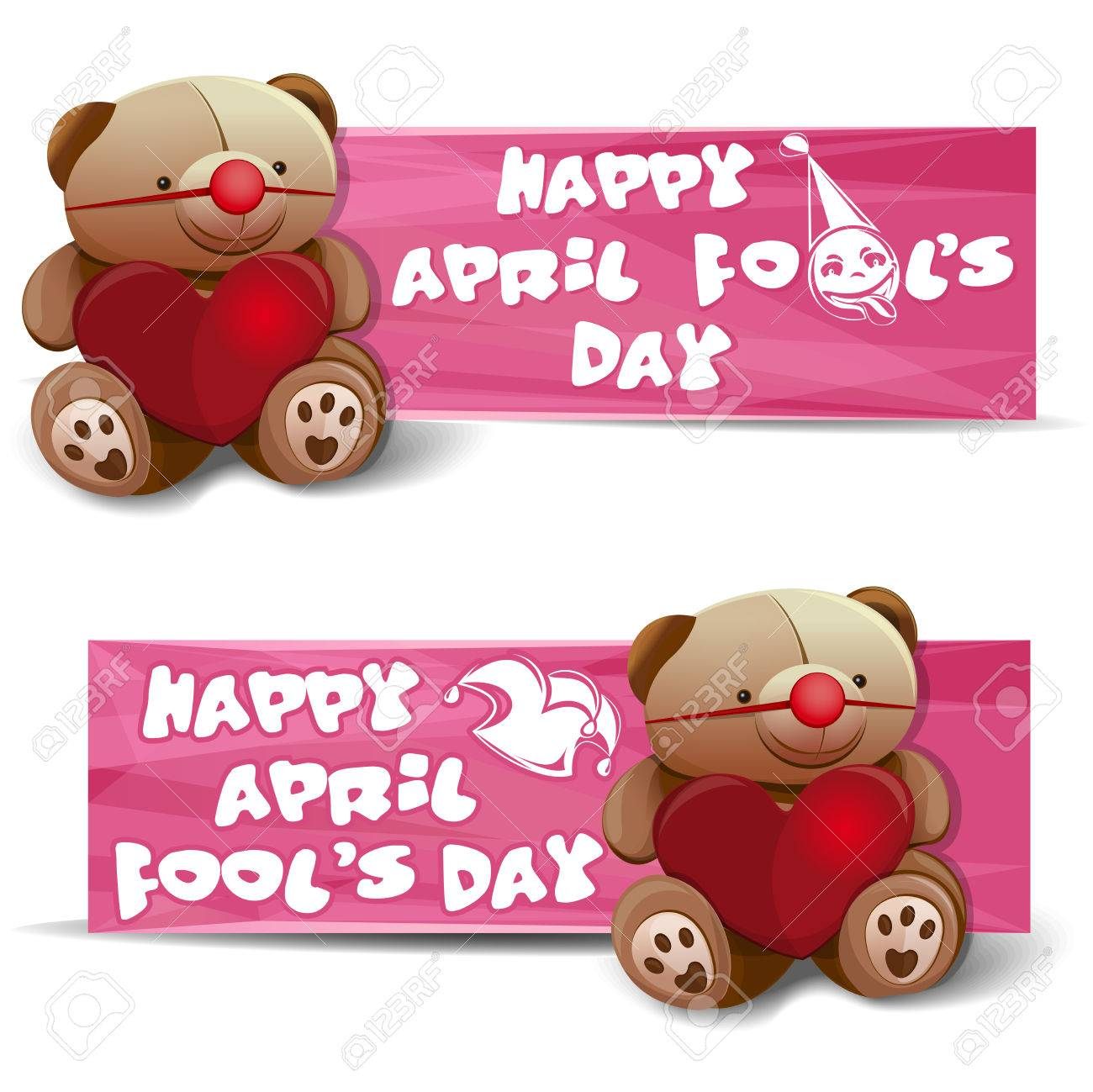 Happy april fools day set banners with a teddy bear heart happy april fools day set banners with a teddy bear heart fools cap m4hsunfo