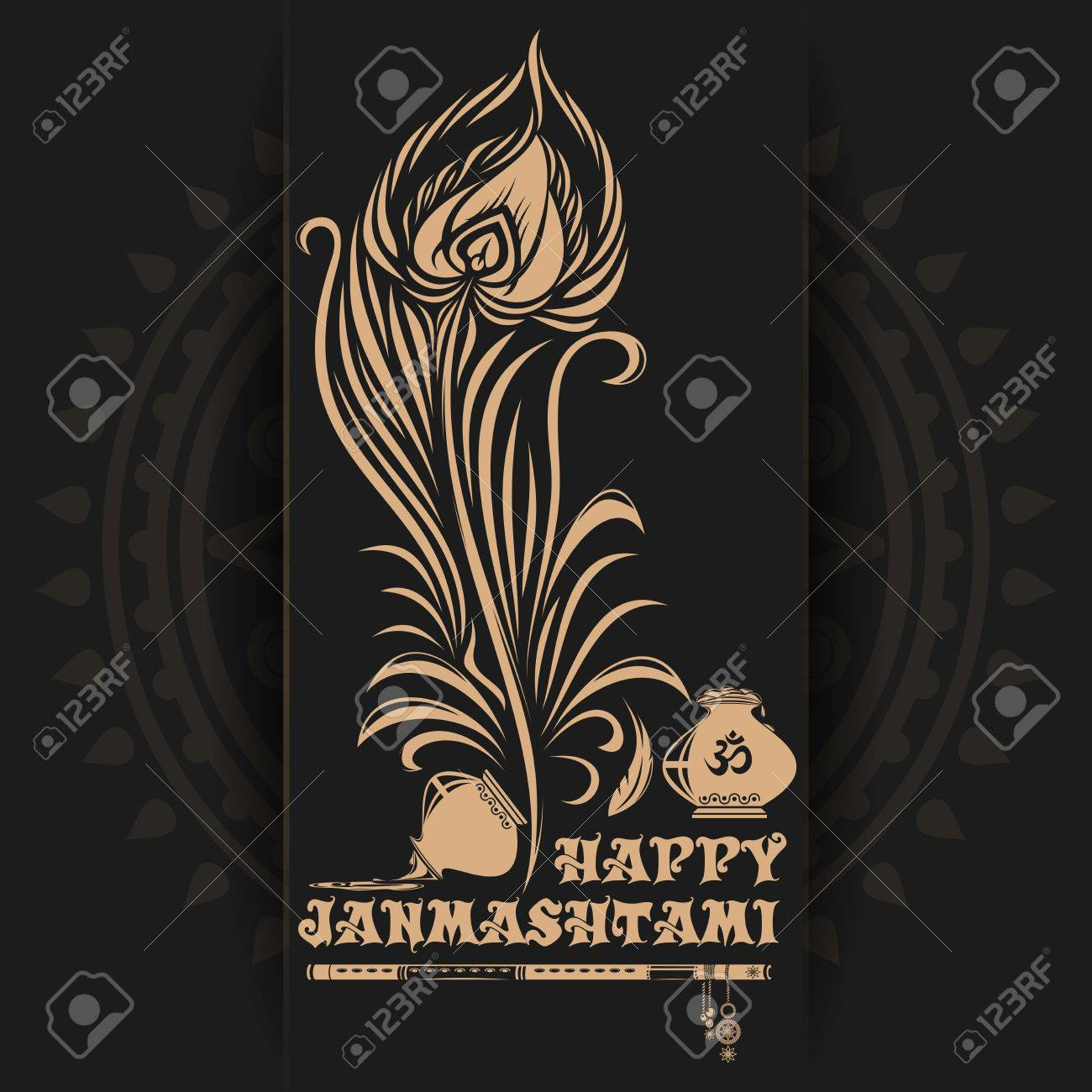81065852 krishna janmashtami logo design on black background greeting card for celebration of the birth of th