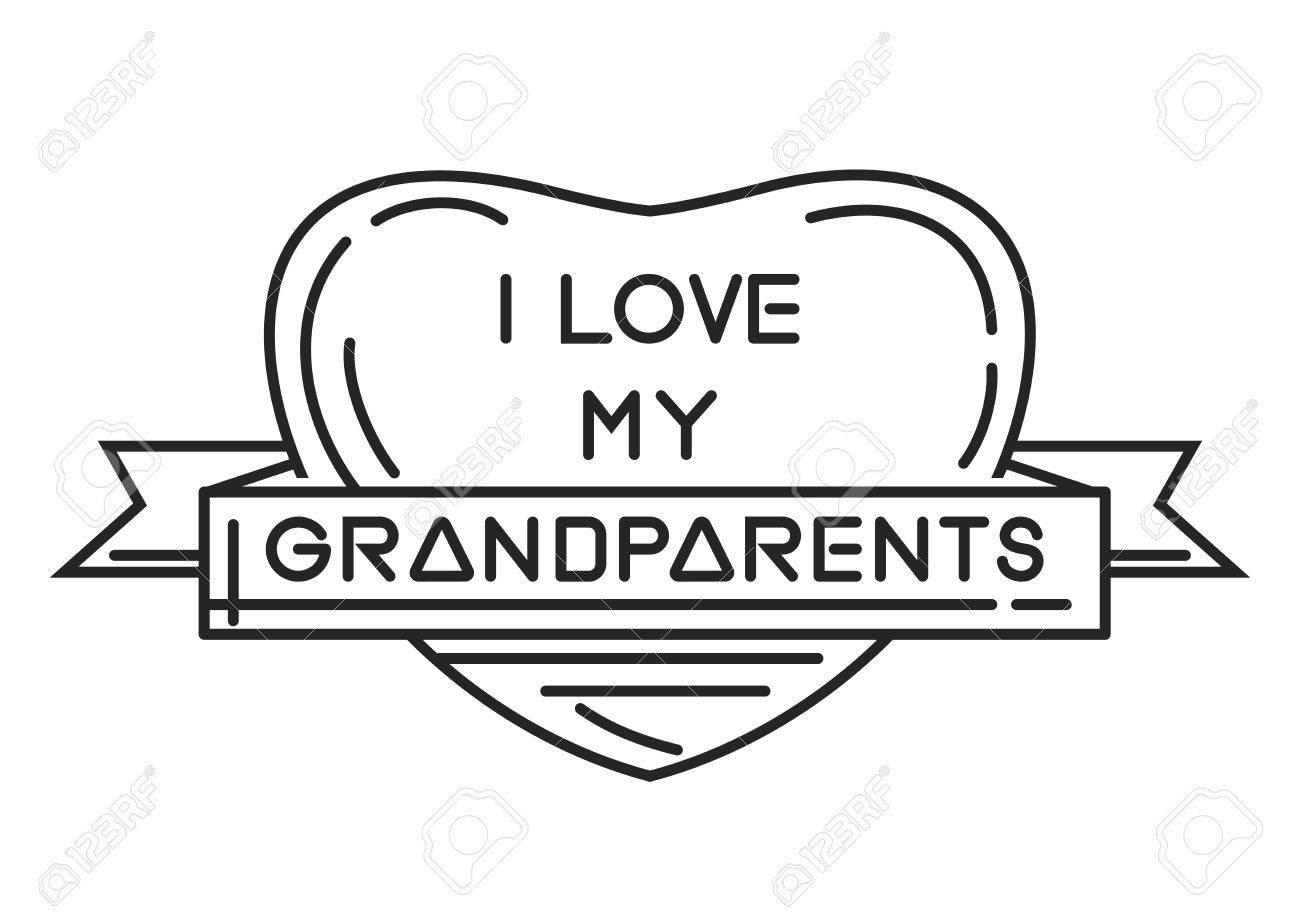 Amo A Mis Abuelos. Marco En Forma De Corazón Con Una Inscripción ...