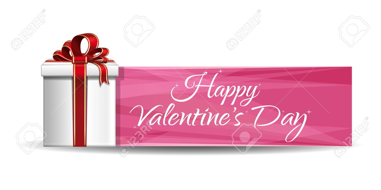 Valentine Gift Box On A Background Of Pink Banner Greeting