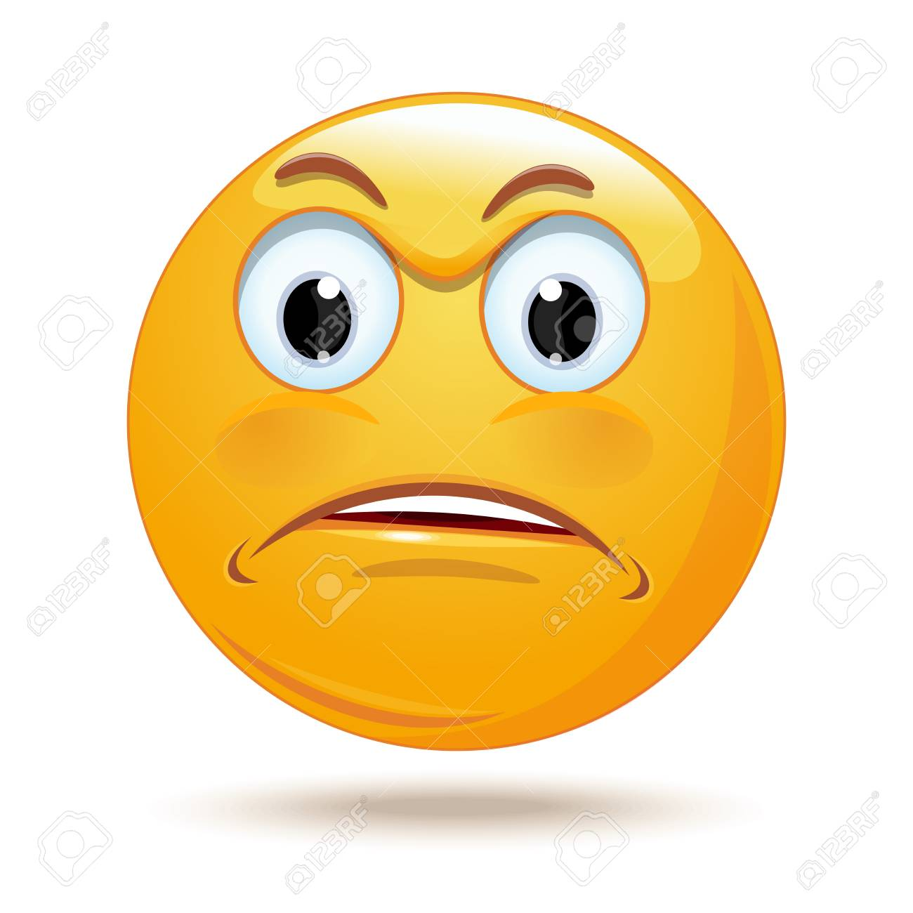 Emoticon sad face. Angry and surprised smiley. Hurt and sad emoticon. Vector illustration