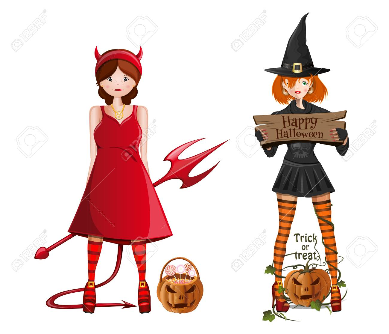 Cute Girls In Fancy Dress For Halloween A Girl In A Witch Costume Royalty Free Cliparts Vectors And Stock Illustration Image 110020764