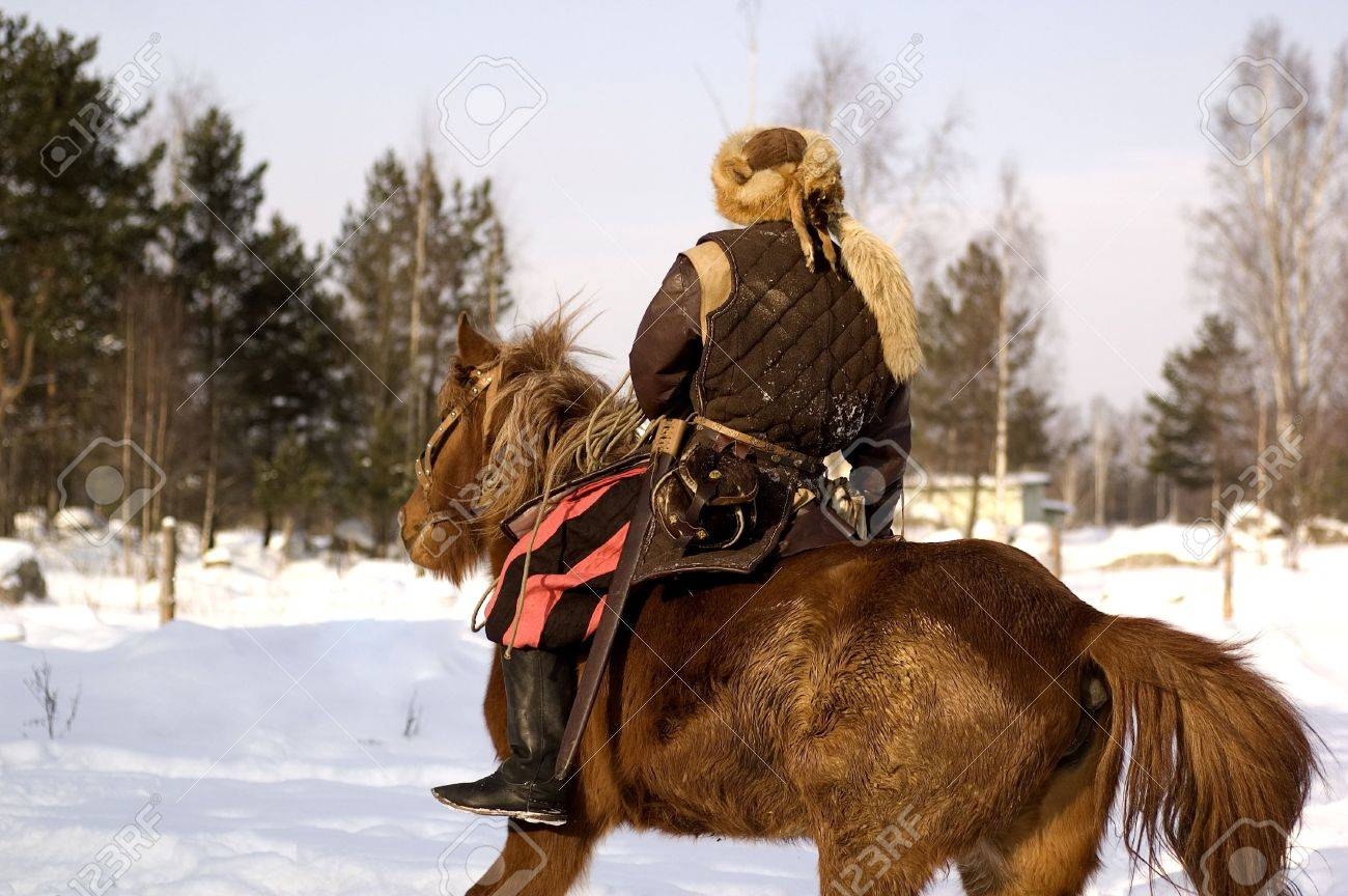 Scandinavian Reenactment Viking On The Horse Stock Photo Picture And Royalty Free Image Image 4399455