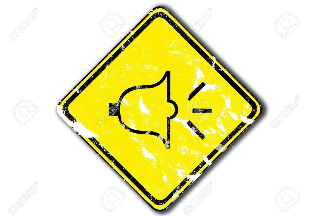 grunge yellow  traffic sign urging people to honk at dangerous turns from paper craft. Stock Photo - 11418278