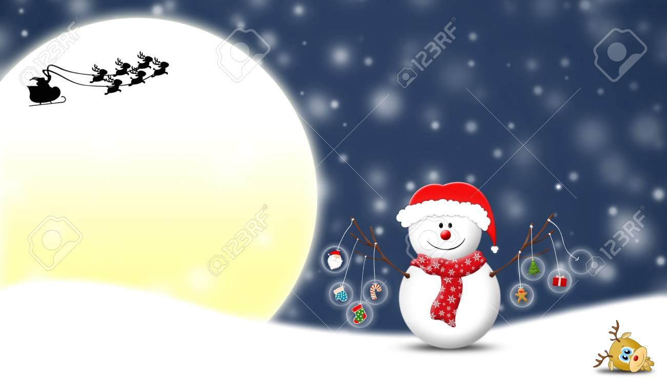 snowman holding Christmas items Stock Photo - 11852921