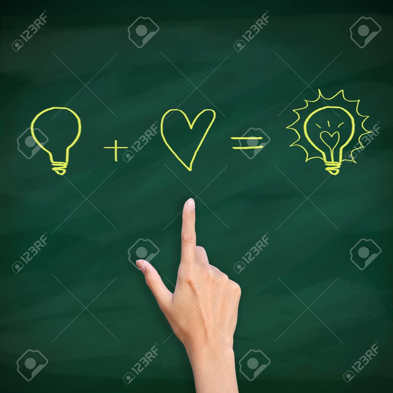 finger point to light bulb drawn on blackboard Stock Photo - 12854712