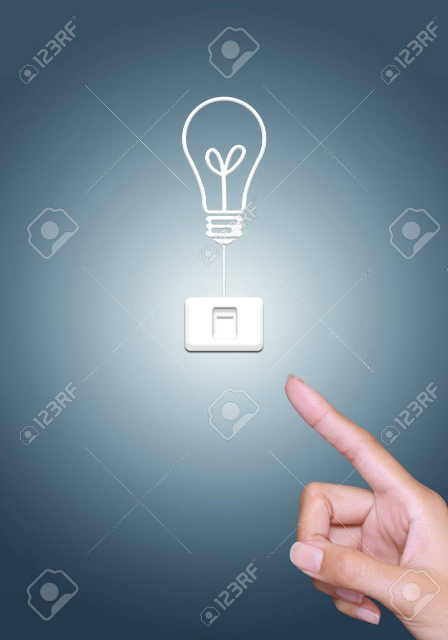 turn off light bulb button, energy saving concept Stock Photo - 12870326
