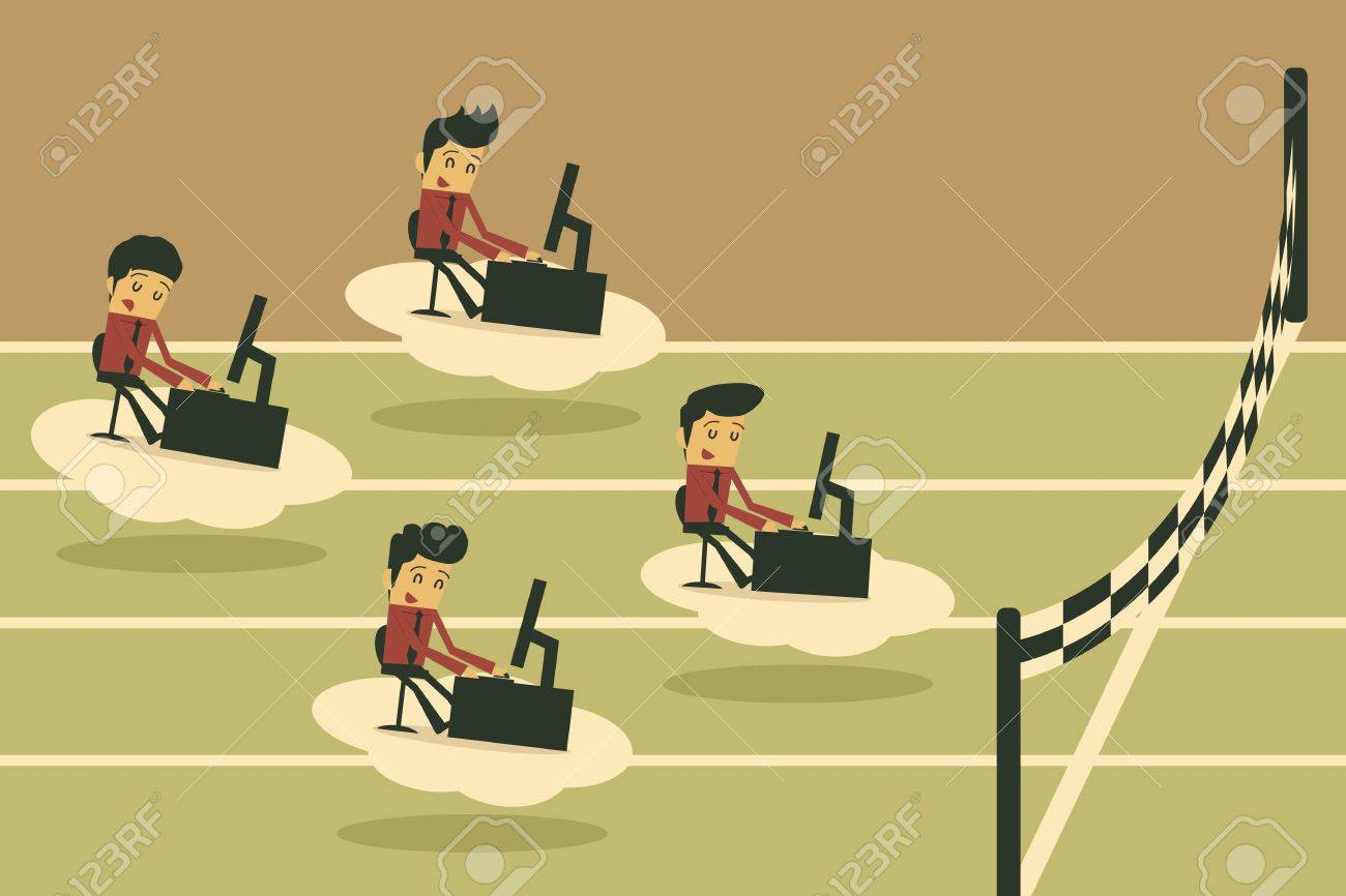 Businessman competition on cloud Stock Vector - 19202229