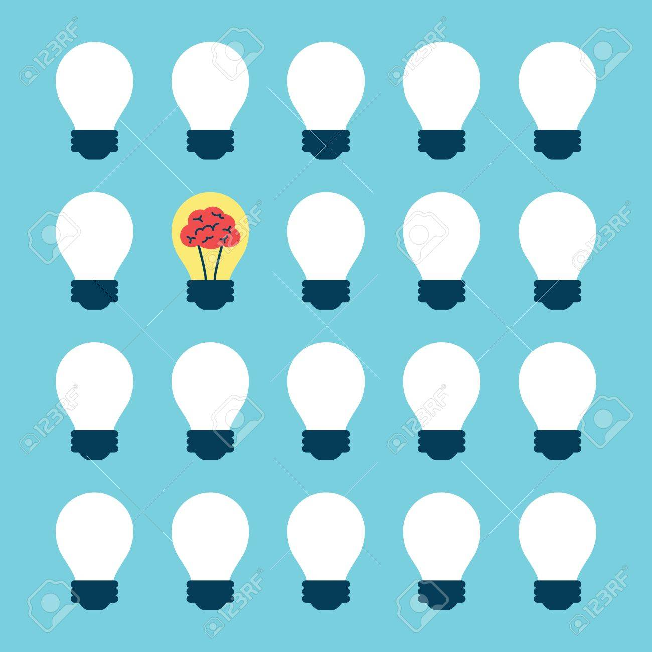 Light Bulb With Brain Pattern, Idea Concept Royalty Free Cliparts ...
