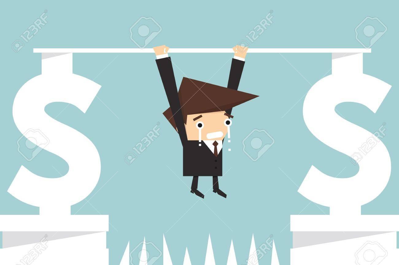 businessman hanging on dollar sign Stock Vector - 22136307