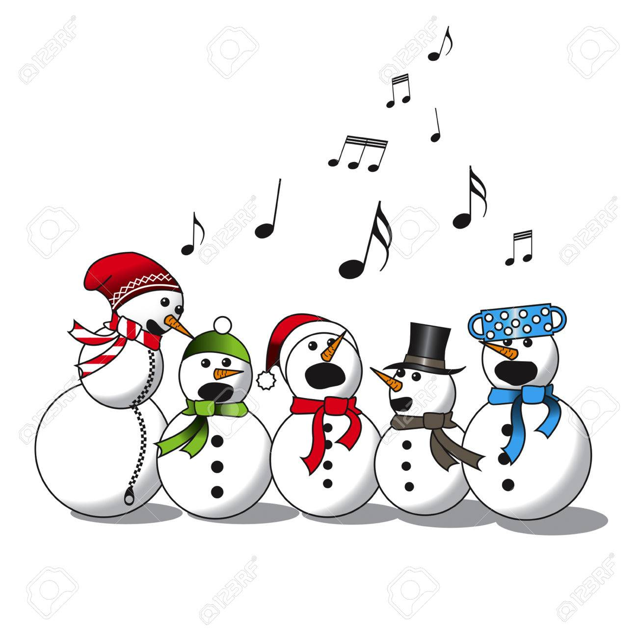 Snowman Singing -choir, Christmas Carol Isolated On White Background  Royalty Free Cliparts, Vectors, And Stock Illustration. Image 64678884.