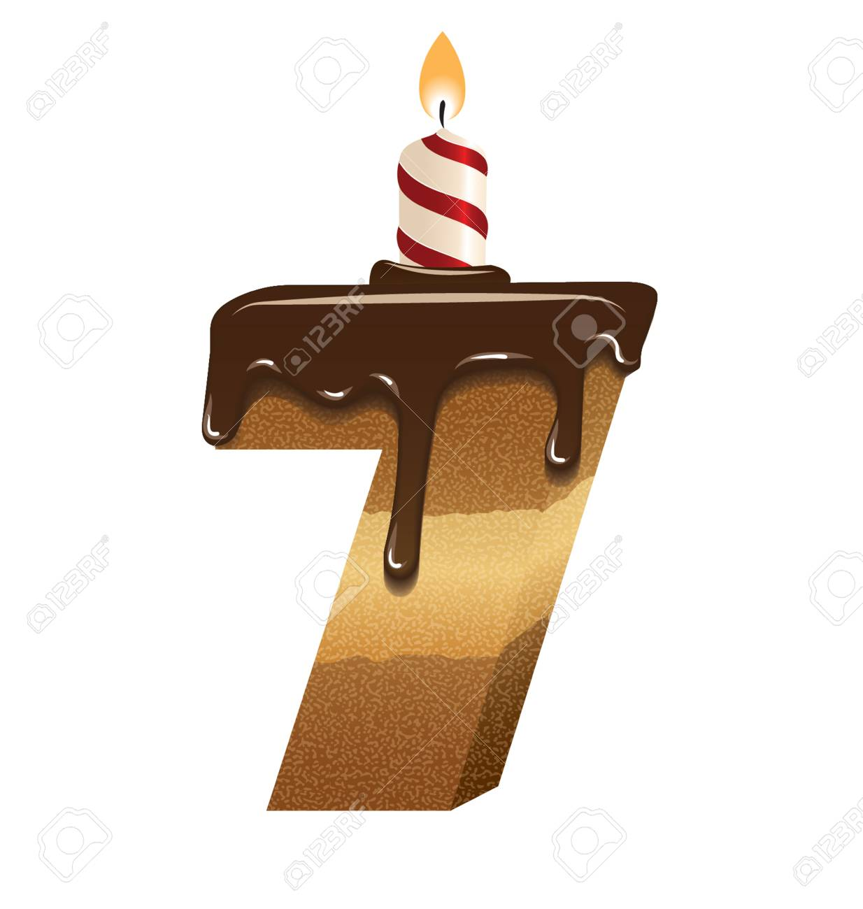 Birthday Cake Font Number Seven Royalty Free Cliparts Vectors