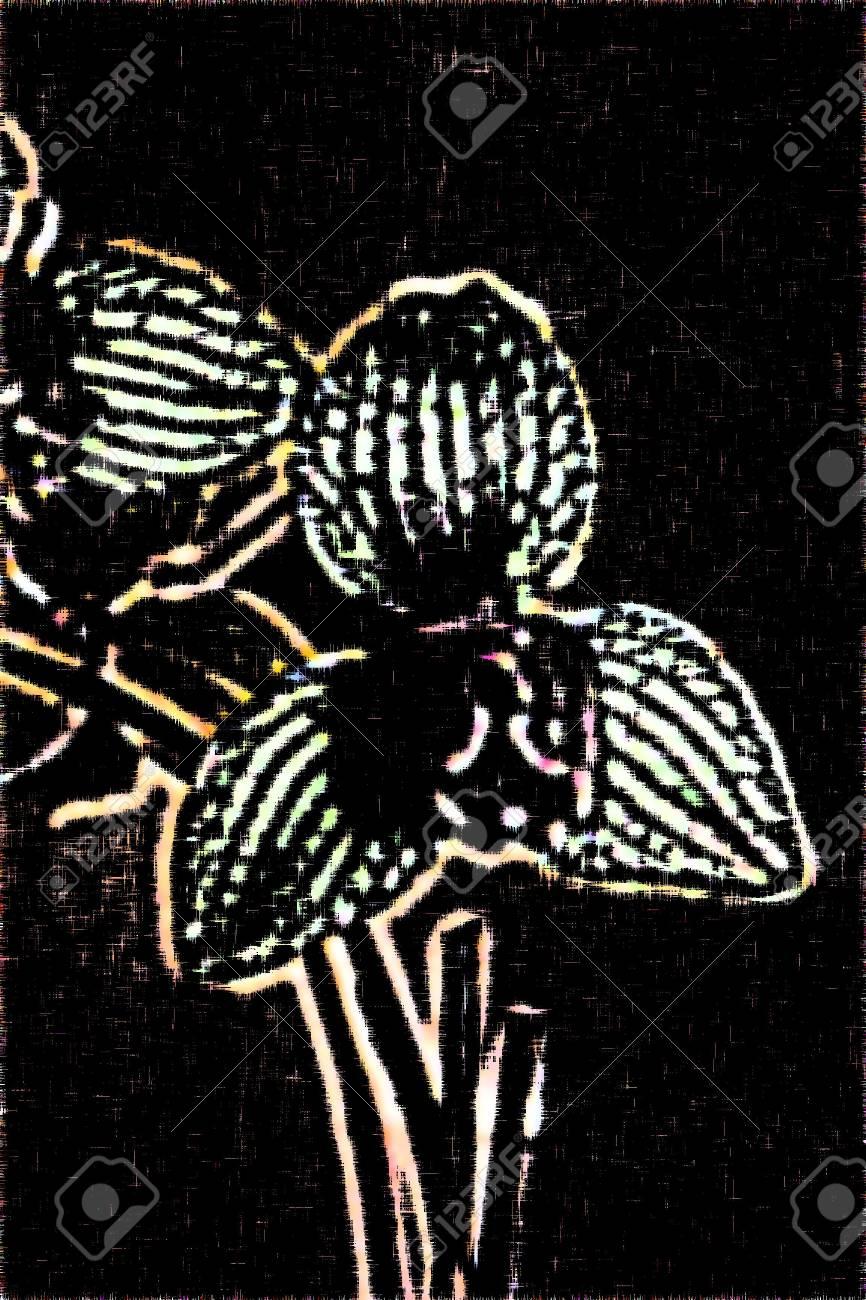 orchid block print Stock Photo - 1090942