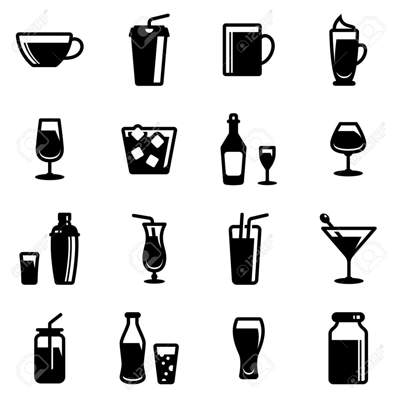 Set of simple icons on a theme Restaurant, alcohol, glass, dishes, drinks, bar, cold, hot, strong, vector, set. Black icons isolated against white background - 159106343