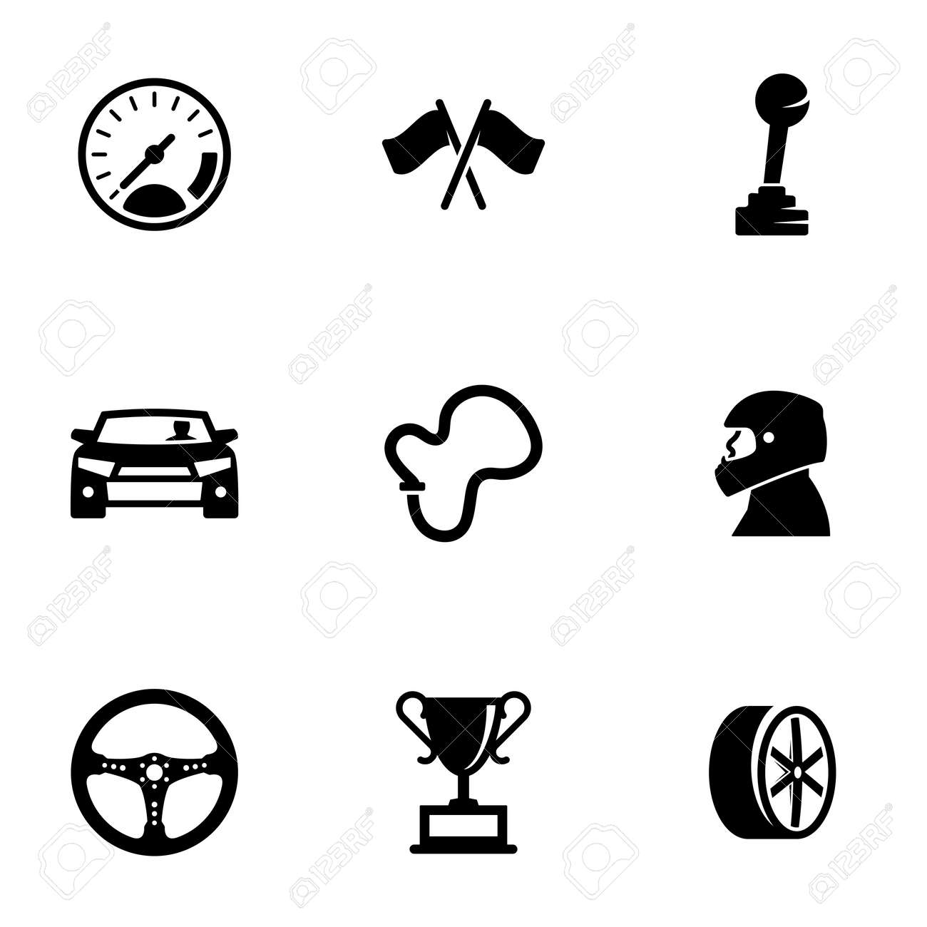 Set of simple icons on a theme Race, vector, design, collection, flat, sign, symbol, element, object, illustration, isolated. White background - 159106438